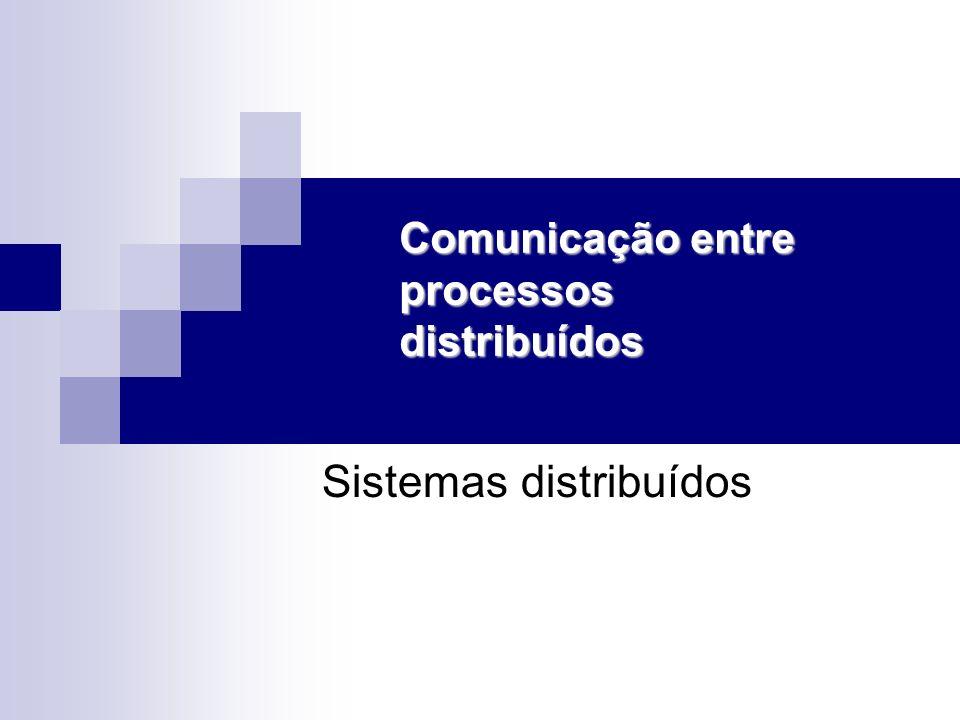 Programação distribuída Sockets Estilo: envia/recebe (send/receive) Característica: eficiente RPC Chamada remota de procedimento Transparência e facilidade de programação Objetos distribuídos Transparência, facilidade e todos os benefícios da programação orientada a objetos Execução mais lenta Exemplos: DCOM CORBA Java RMI etc.