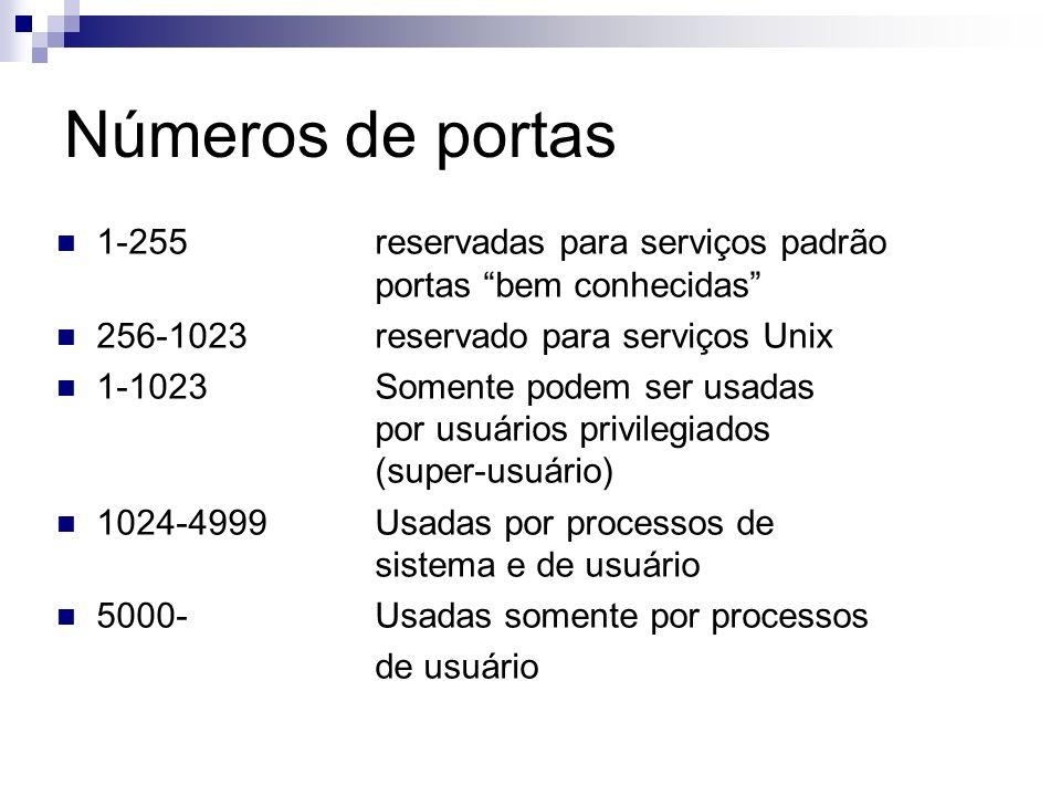 Números de portas 1-255reservadas para serviços padrão portas bem conhecidas 256-1023reservado para serviços Unix 1-1023Somente podem ser usadas por u