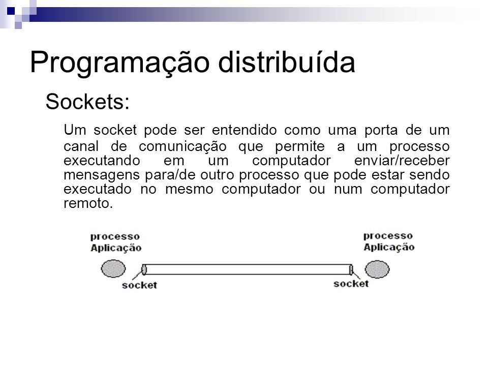 Programação distribuída Sockets: Tipos de serviço de transporte: Datagrama - transporte não orientado a conexão e sem controle de erros ( protocolo UDP) DataStream - transporte orientado a conexão com controle de erros ( protocolo TCP )
