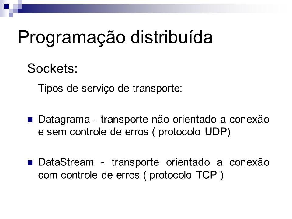 Programação distribuída Sockets: Tipos de serviço de transporte: Datagrama - transporte não orientado a conexão e sem controle de erros ( protocolo UD