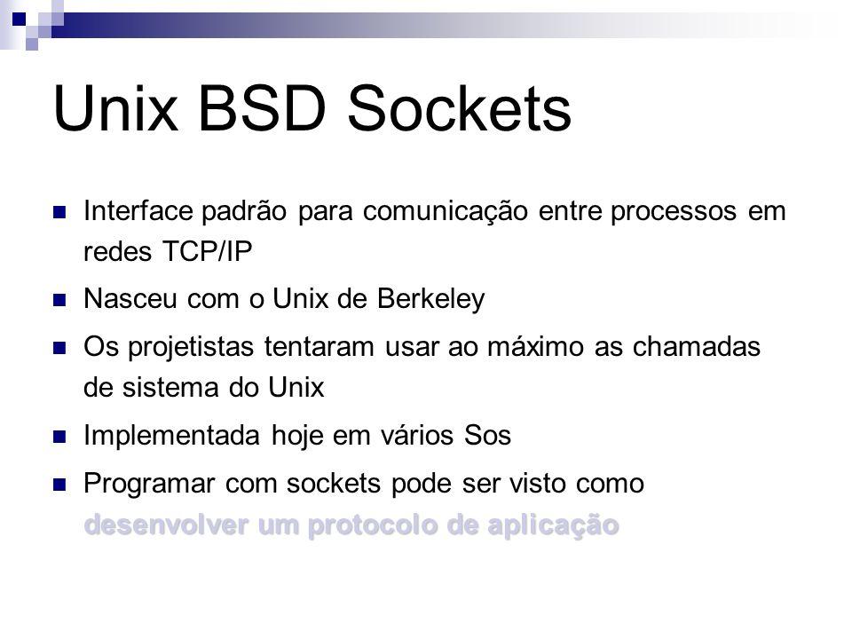 Unix BSD Sockets Interface padrão para comunicação entre processos em redes TCP/IP Nasceu com o Unix de Berkeley Os projetistas tentaram usar ao máxim