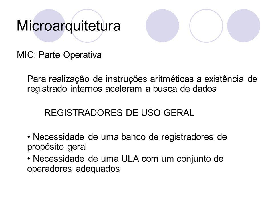 Microarquitetura MIC: Parte Operativa Para realização de instruções aritméticas a existência de registrado internos aceleram a busca de dados REGISTRA