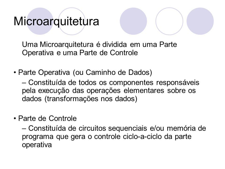 Microarquitetura Uma Microarquitetura é dividida em uma Parte Operativa e uma Parte de Controle Parte Operativa (ou Caminho de Dados) – Constituída de