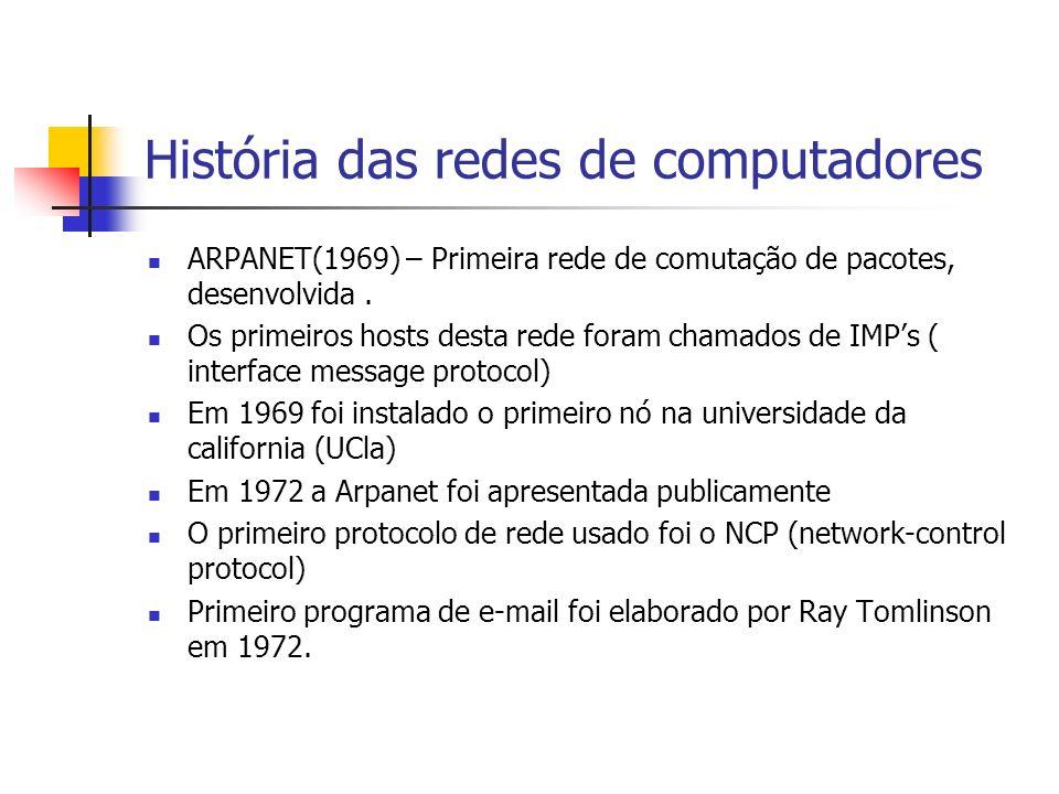 História das redes de computadores ARPANET(1969) – Primeira rede de comutação de pacotes, desenvolvida.