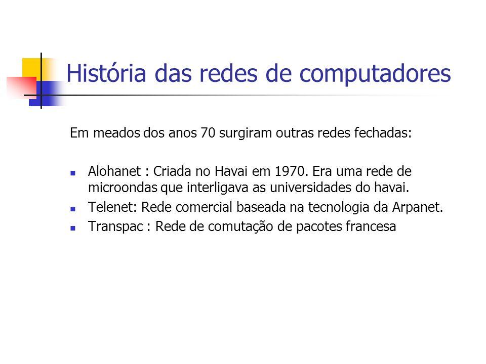 História das redes de computadores Em meados dos anos 70 surgiram outras redes fechadas: Alohanet : Criada no Havai em 1970.