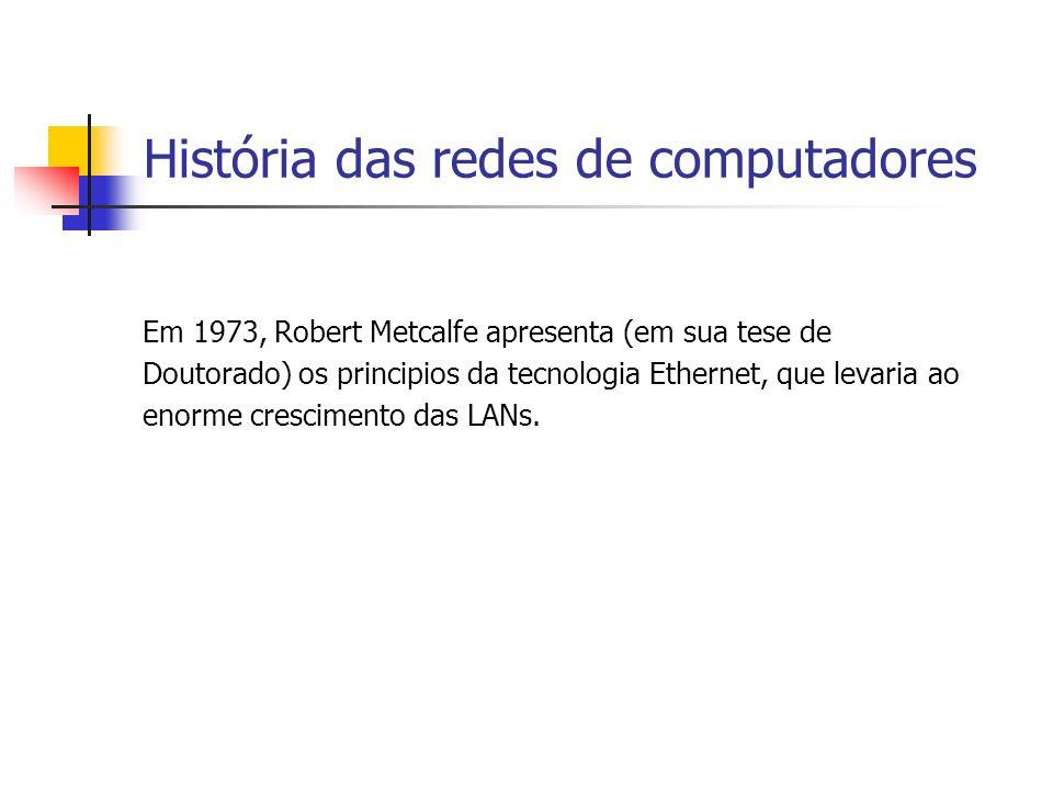 História das redes de computadores Em 1973, Robert Metcalfe apresenta (em sua tese de Doutorado) os principios da tecnologia Ethernet, que levaria ao enorme crescimento das LANs.