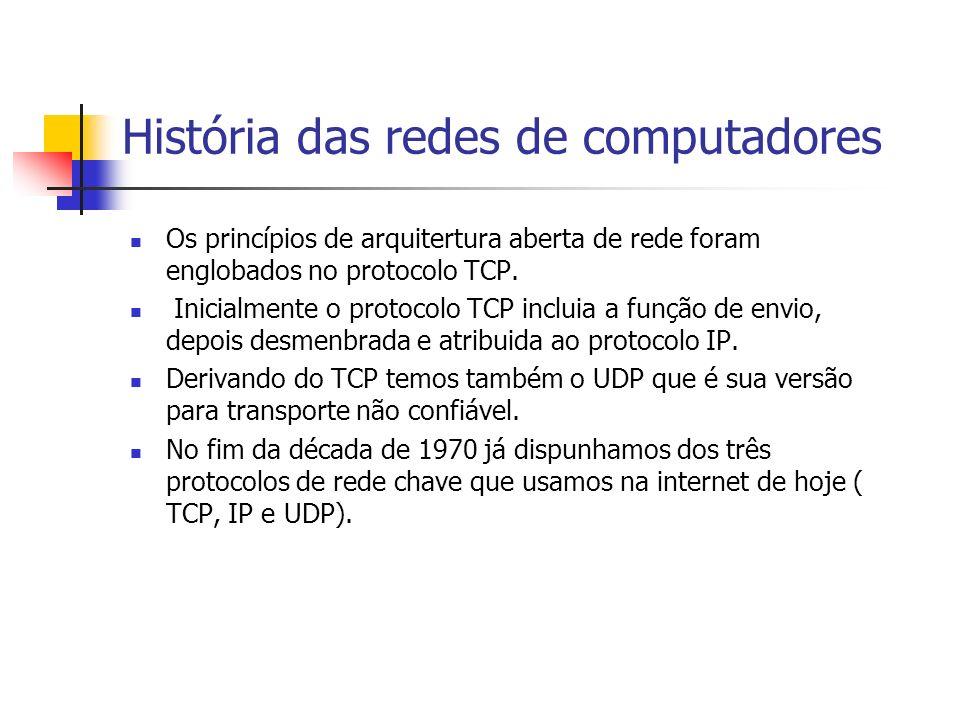 História das redes de computadores Os princípios de arquitertura aberta de rede foram englobados no protocolo TCP.