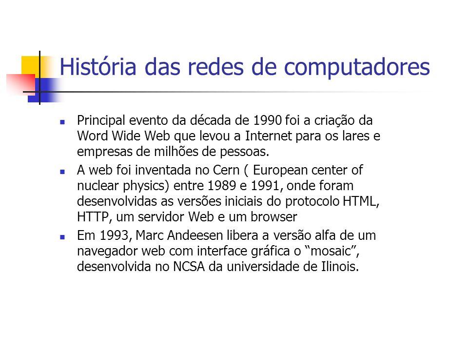 História das redes de computadores Principal evento da década de 1990 foi a criação da Word Wide Web que levou a Internet para os lares e empresas de milhões de pessoas.