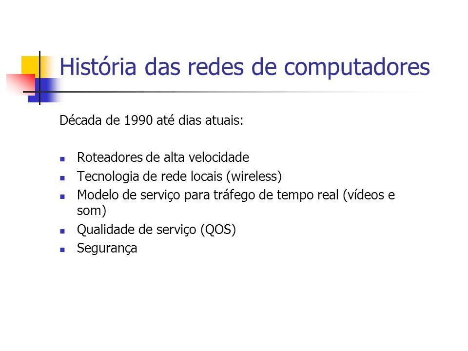 História das redes de computadores Década de 1990 até dias atuais: Roteadores de alta velocidade Tecnologia de rede locais (wireless) Modelo de serviço para tráfego de tempo real (vídeos e som) Qualidade de serviço (QOS) Segurança