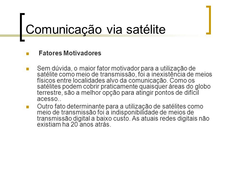 Comunicação via satélite Fatores Motivadores Sem dúvida, o maior fator motivador para a utilização de satélite como meio de transmissão, foi a inexist