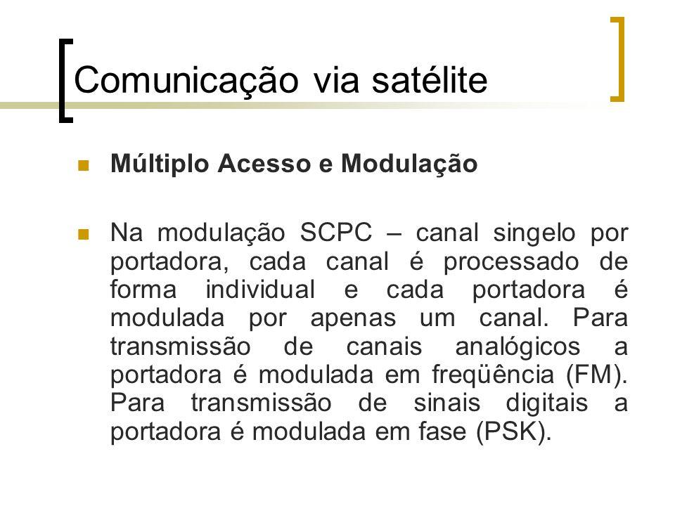 Comunicação via satélite Múltiplo Acesso e Modulação Na modulação SCPC – canal singelo por portadora, cada canal é processado de forma individual e ca