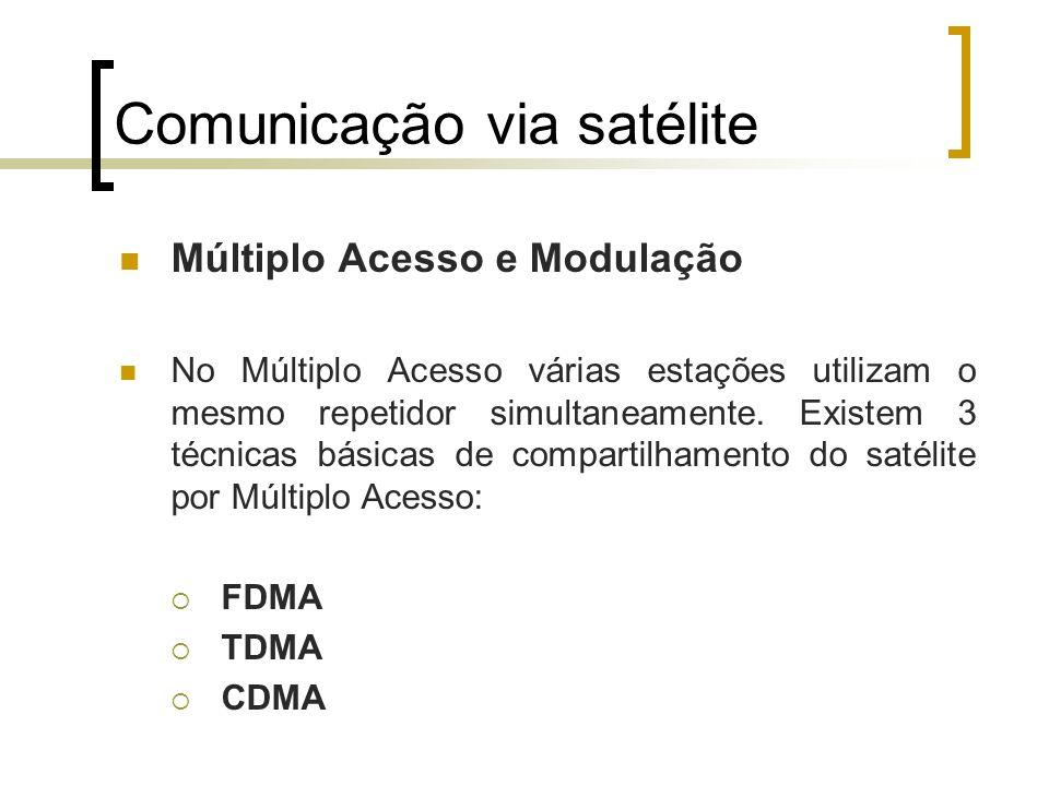 Comunicação via satélite Múltiplo Acesso e Modulação No Múltiplo Acesso várias estações utilizam o mesmo repetidor simultaneamente. Existem 3 técnicas