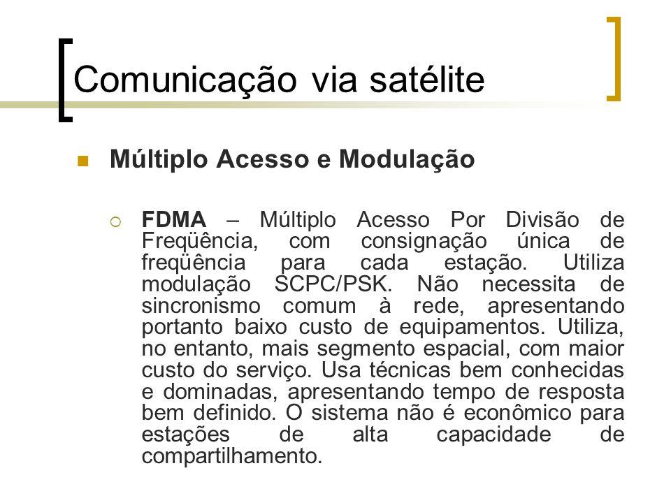 Comunicação via satélite Múltiplo Acesso e Modulação FDMA – Múltiplo Acesso Por Divisão de Freqüência, com consignação única de freqüência para cada e