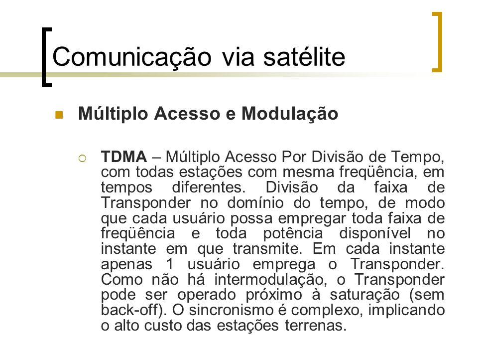 Comunicação via satélite Múltiplo Acesso e Modulação TDMA – Múltiplo Acesso Por Divisão de Tempo, com todas estações com mesma freqüência, em tempos d