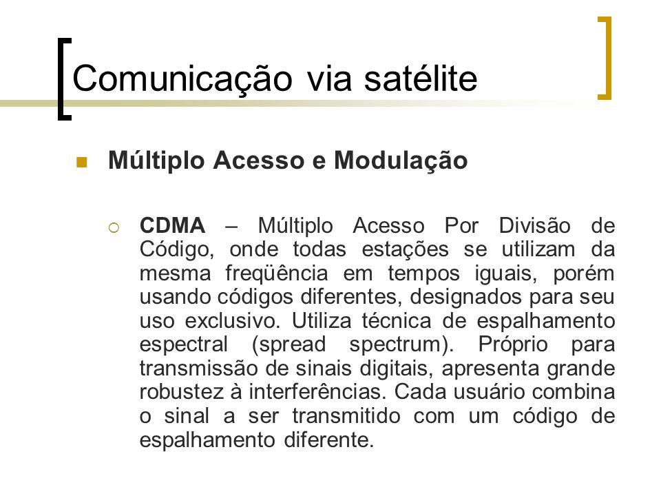 Comunicação via satélite Múltiplo Acesso e Modulação CDMA – Múltiplo Acesso Por Divisão de Código, onde todas estações se utilizam da mesma freqüência