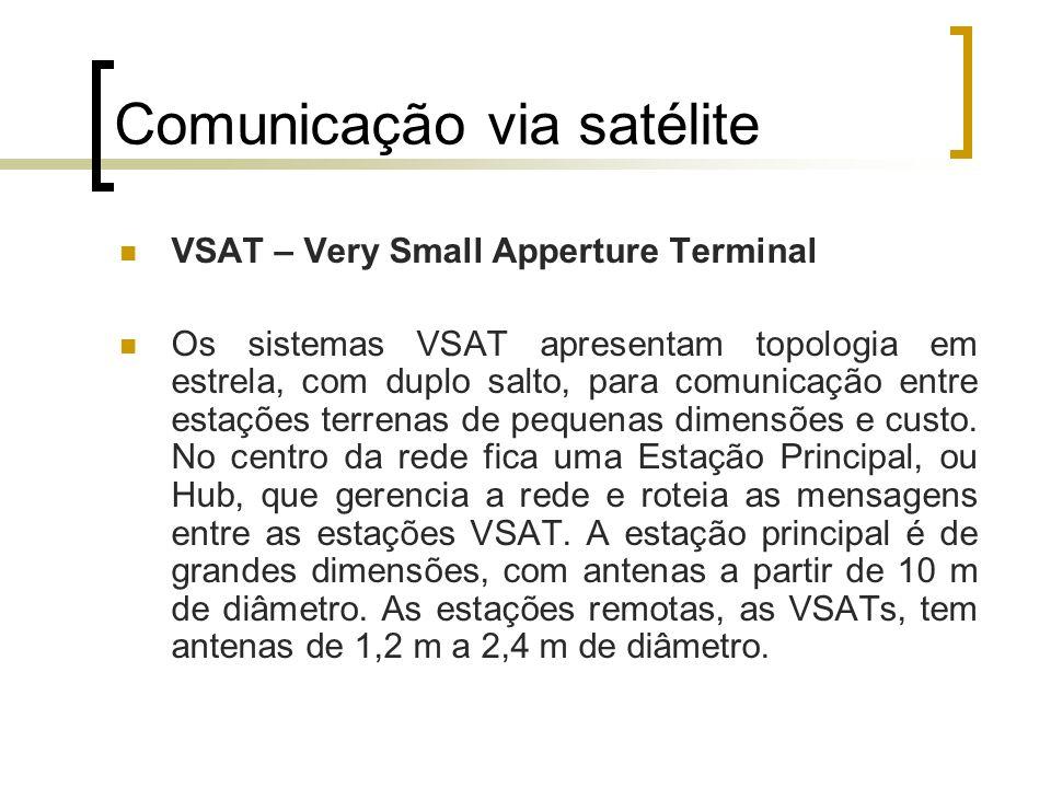 Comunicação via satélite VSAT – Very Small Apperture Terminal Os sistemas VSAT apresentam topologia em estrela, com duplo salto, para comunicação entr