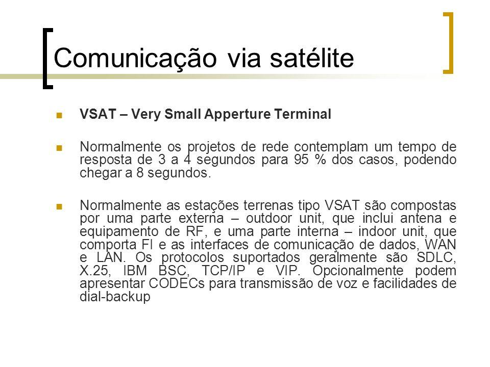 Comunicação via satélite VSAT – Very Small Apperture Terminal Normalmente os projetos de rede contemplam um tempo de resposta de 3 a 4 segundos para 9