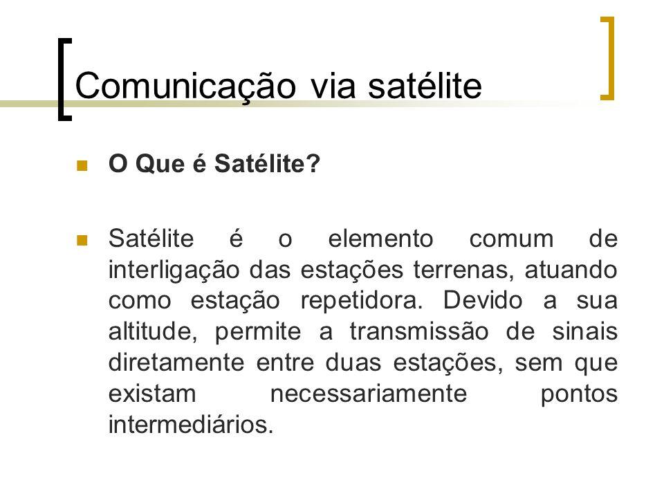 Comunicação via satélite Satélites geoestacionários Os satélites são ditos geoestacionários quando estes são colocados em uma órbita circular em torno da terra tal que a sua velocidade de rotação seja a mesma da terra, ou seja, para um observador na terra o satélite comporta-se como se estivesse estacionário em um determinado local no céu.