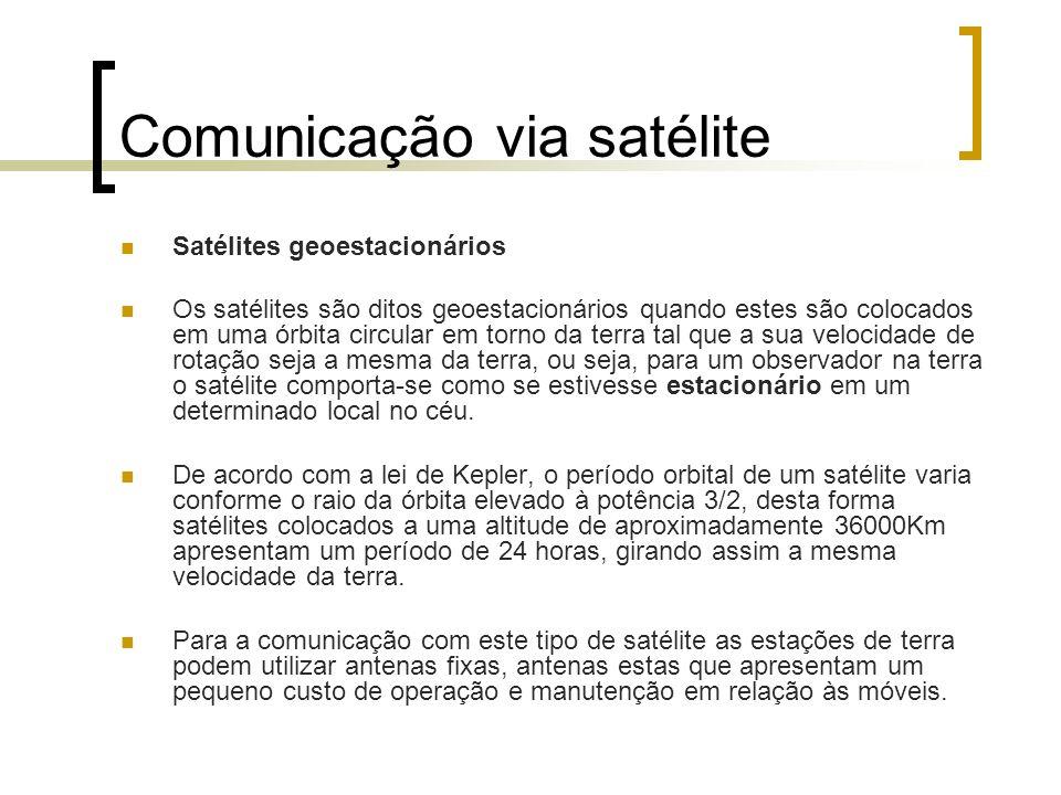 Comunicação via satélite Satélites geoestacionários Os satélites são ditos geoestacionários quando estes são colocados em uma órbita circular em torno