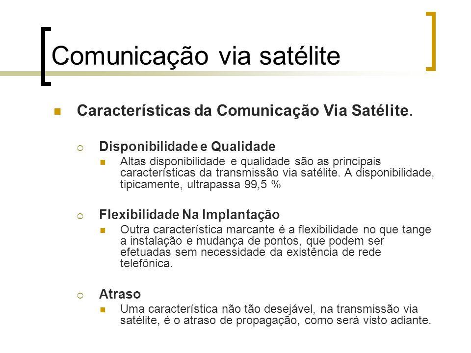 Comunicação via satélite Características da Comunicação Via Satélite. Disponibilidade e Qualidade Altas disponibilidade e qualidade são as principais