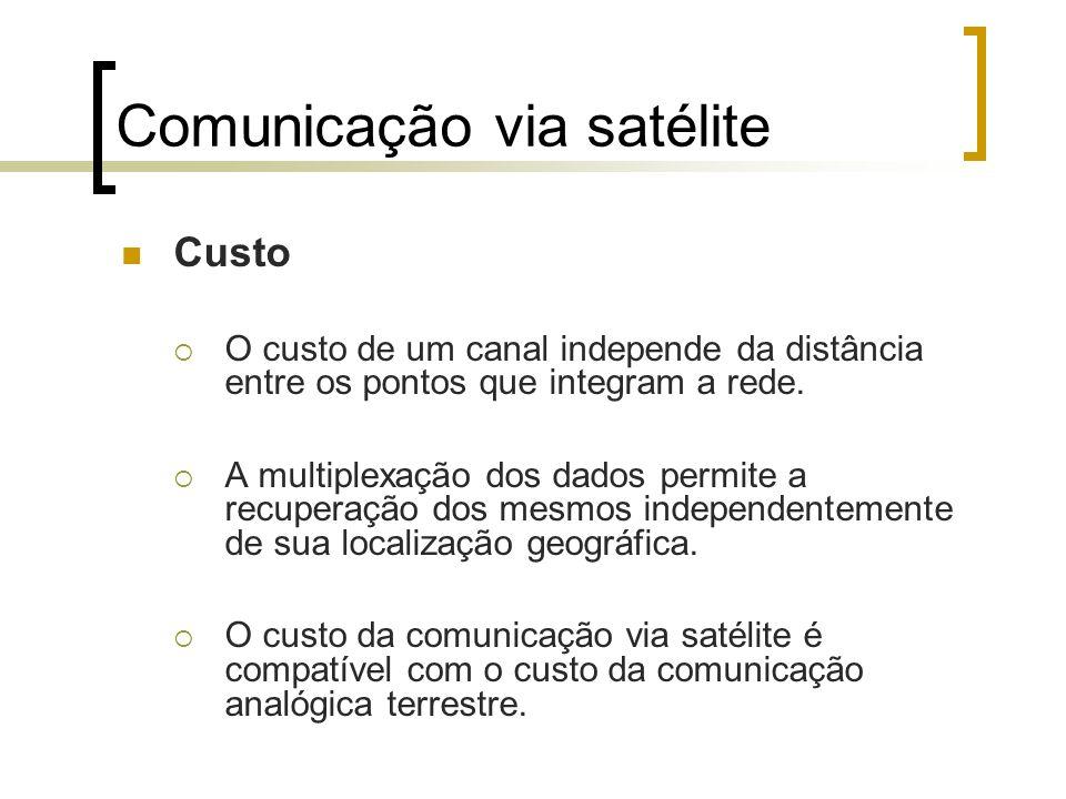 Comunicação via satélite Custo O custo de um canal independe da distância entre os pontos que integram a rede. A multiplexação dos dados permite a rec