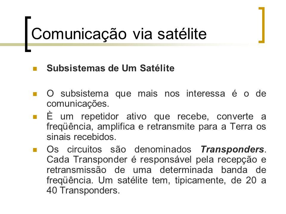 Comunicação via satélite Faixas de Freqüência Banda L – 1,5 a 2,5 GHz Banda C – 4,0 a 6,0 GHz Banda Ku – 11,0 a 14,0 GHz Banda Ka – 20,0 a 30,0 GHz