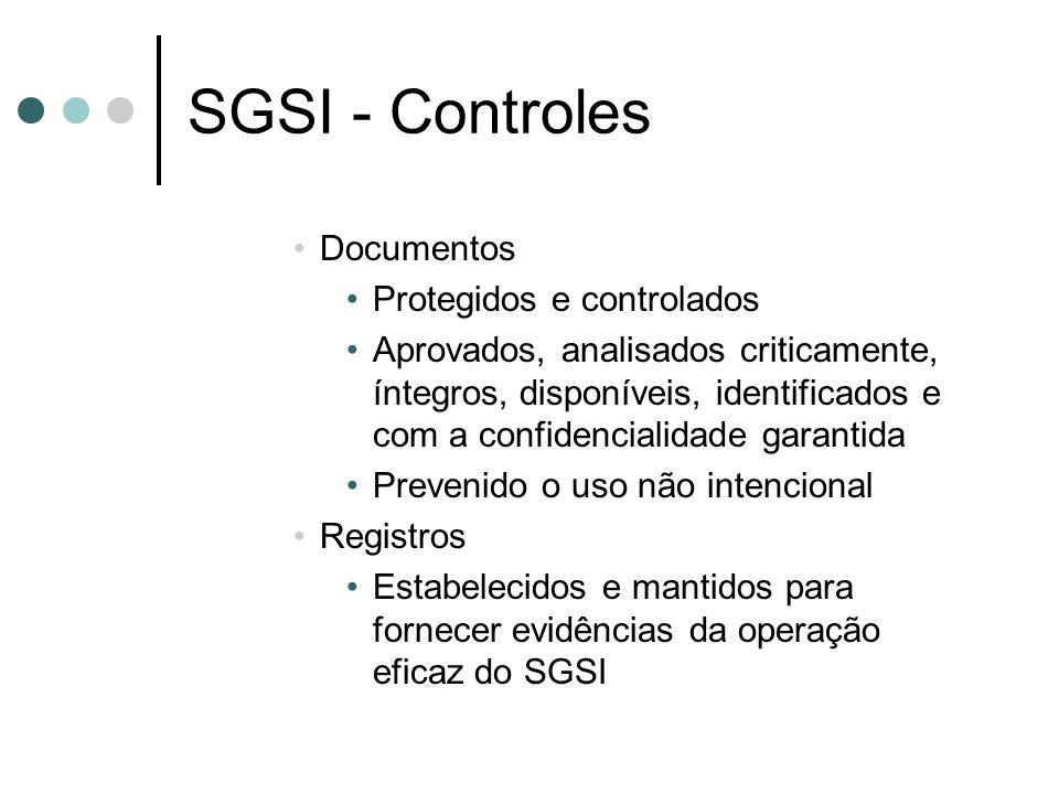 SGSI - Controles Documentos Protegidos e controlados Aprovados, analisados criticamente, íntegros, disponíveis, identificados e com a confidencialidad
