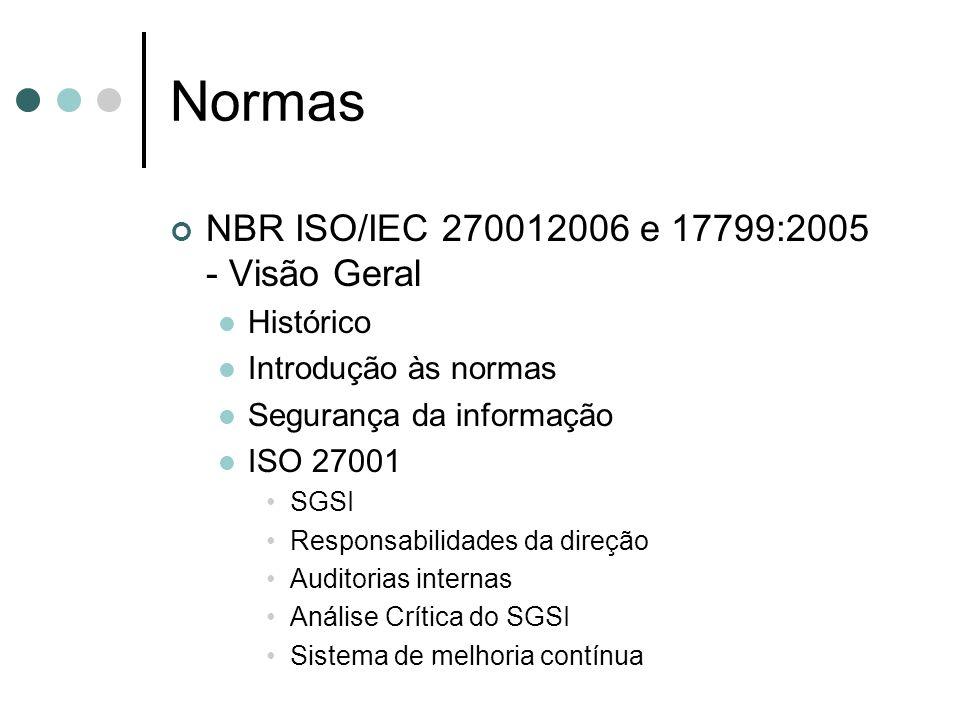 Normas NBR ISO/IEC 270012006 e 17799:2005 - Visão Geral Histórico Introdução às normas Segurança da informação ISO 27001 SGSI Responsabilidades da dir
