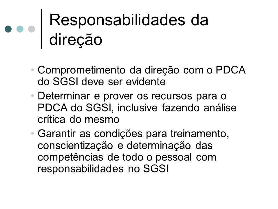 Responsabilidades da direção Comprometimento da direção com o PDCA do SGSI deve ser evidente Determinar e prover os recursos para o PDCA do SGSI, incl