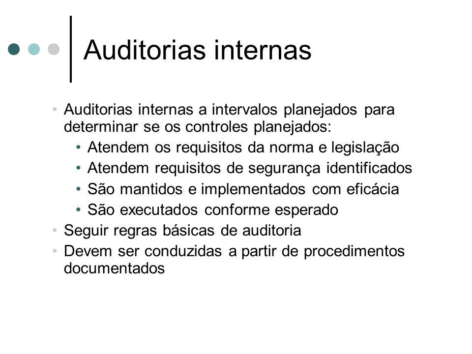 Auditorias internas Auditorias internas a intervalos planejados para determinar se os controles planejados: Atendem os requisitos da norma e legislaçã