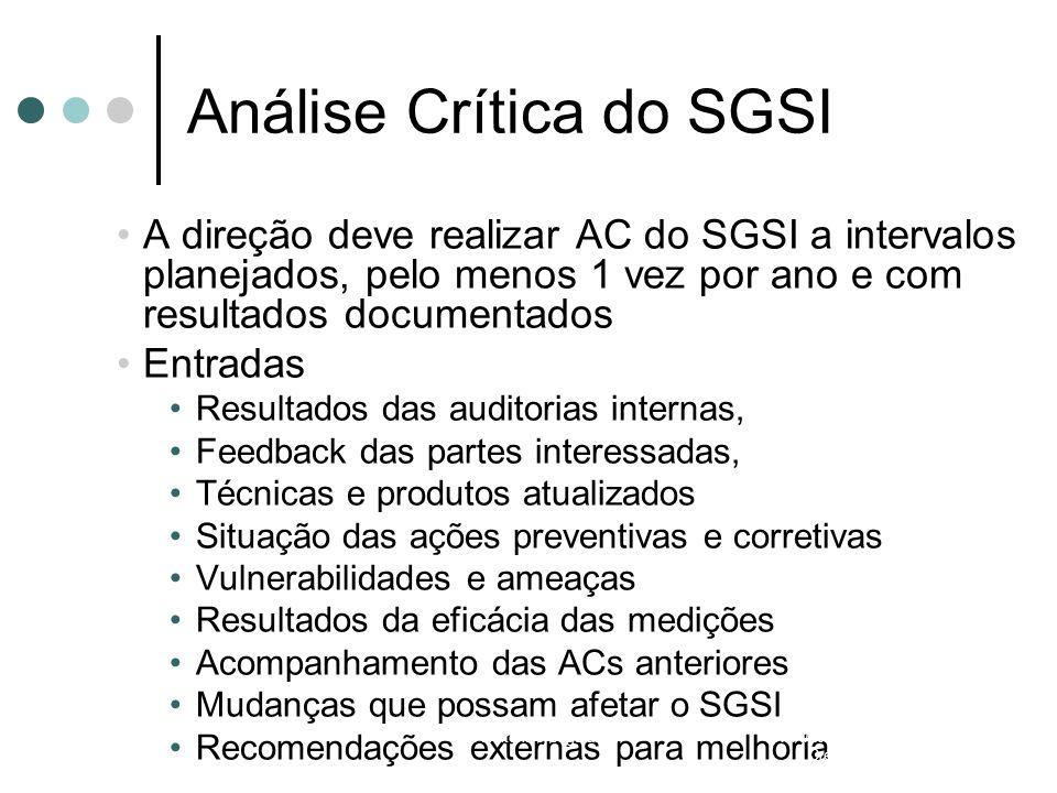 Análise Crítica do SGSI A direção deve realizar AC do SGSI a intervalos planejados, pelo menos 1 vez por ano e com resultados documentados Entradas Re