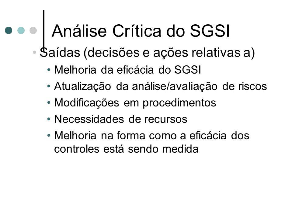 Análise Crítica do SGSI Saídas (decisões e ações relativas a) Melhoria da eficácia do SGSI Atualização da análise/avaliação de riscos Modificações em