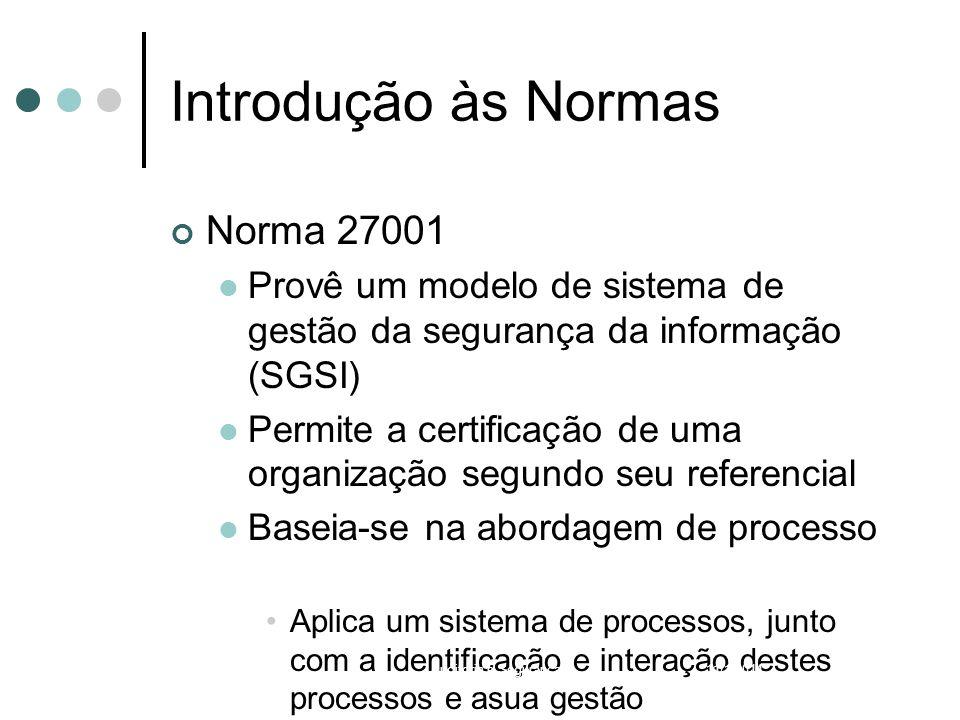 Introdução às Normas Norma 27001 Provê um modelo de sistema de gestão da segurança da informação (SGSI) Permite a certificação de uma organização segu