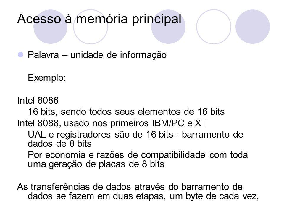 Acesso à memória principal Palavra – unidade de informação Exemplo: Intel 8086 16 bits, sendo todos seus elementos de 16 bits Intel 8088, usado nos pr