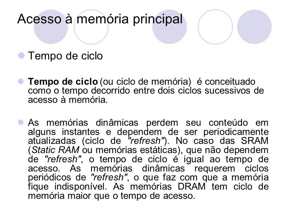 Acesso à memória principal Tempo de ciclo Tempo de ciclo (ou ciclo de memória) é conceituado como o tempo decorrido entre dois ciclos sucessivos de ac