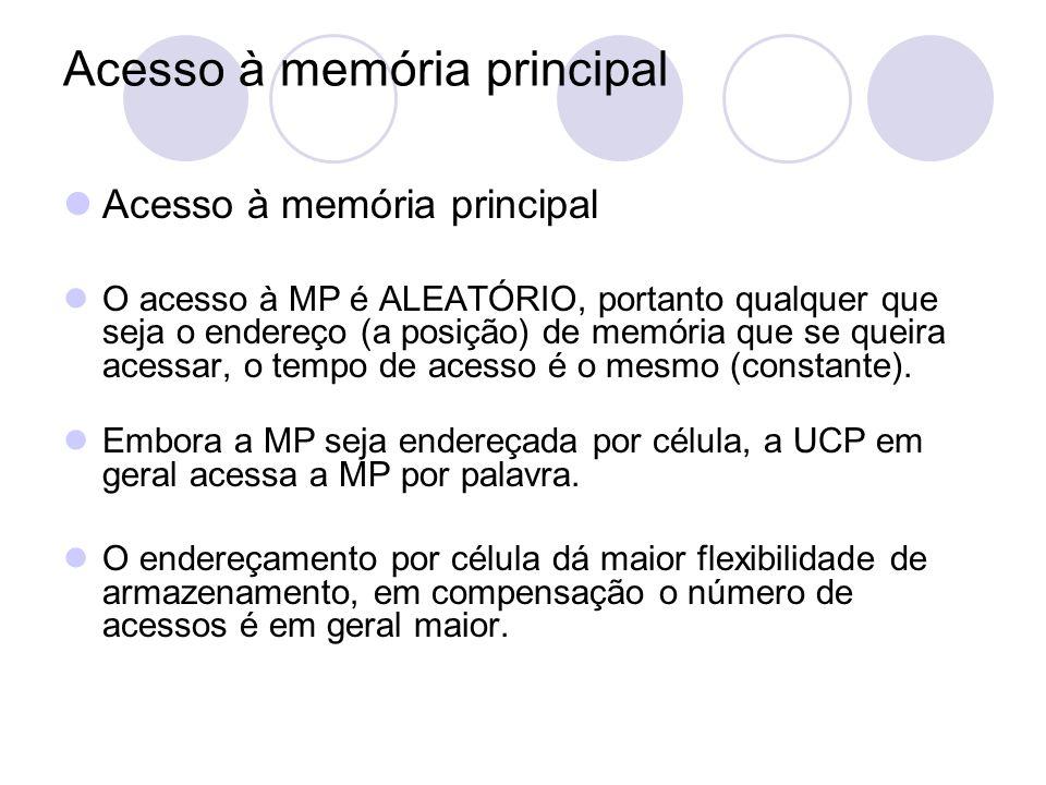 Acesso à memória principal O acesso à MP é ALEATÓRIO, portanto qualquer que seja o endereço (a posição) de memória que se queira acessar, o tempo de a