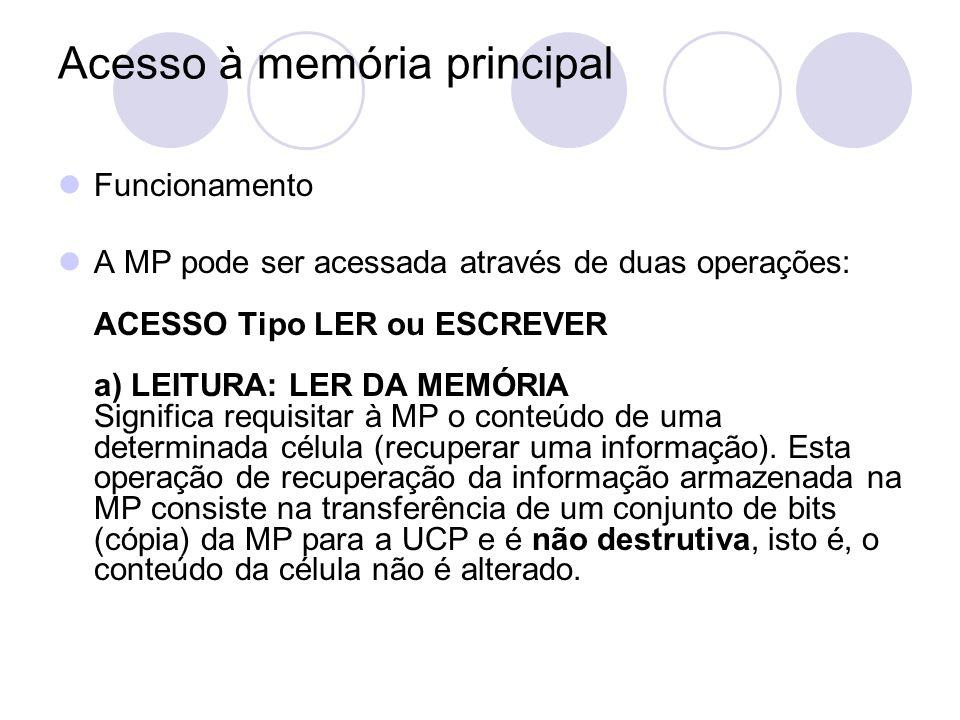 Acesso à memória principal Funcionamento A MP pode ser acessada através de duas operações: ACESSO Tipo LER ou ESCREVER a) LEITURA: LER DA MEMÓRIA Sign