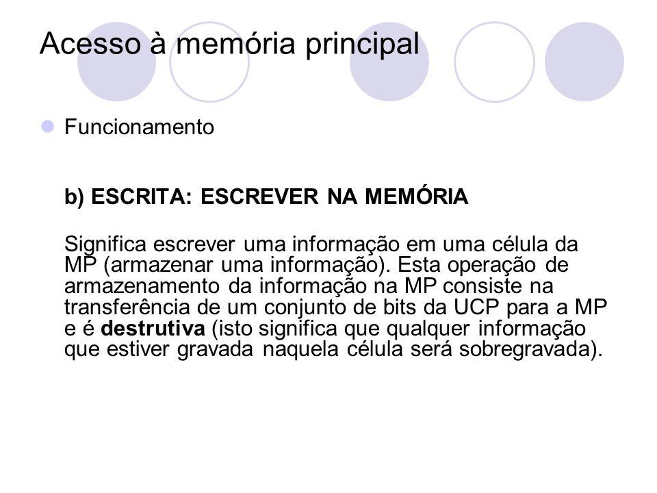 Acesso à memória principal Funcionamento b) ESCRITA: ESCREVER NA MEMÓRIA Significa escrever uma informação em uma célula da MP (armazenar uma informaç