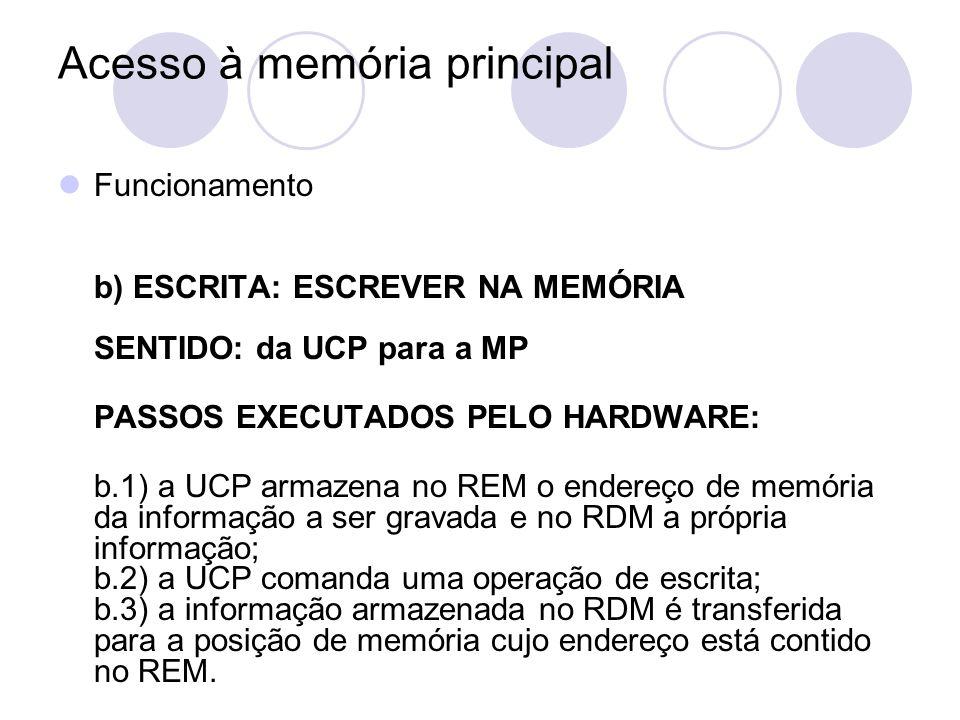 Acesso à memória principal Funcionamento b) ESCRITA: ESCREVER NA MEMÓRIA SENTIDO: da UCP para a MP PASSOS EXECUTADOS PELO HARDWARE: b.1) a UCP armazen