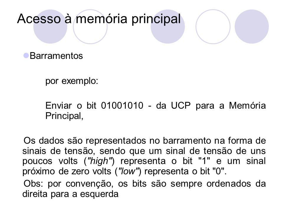 Acesso à memória principal Barramentos por exemplo: Enviar o bit 01001010 - da UCP para a Memória Principal, Os dados são representados no barramento