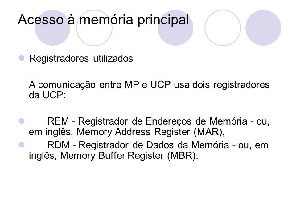 Acesso à memória principal Registradores utilizados A comunicação entre MP e UCP usa dois registradores da UCP: REM - Registrador de Endereços de Memó