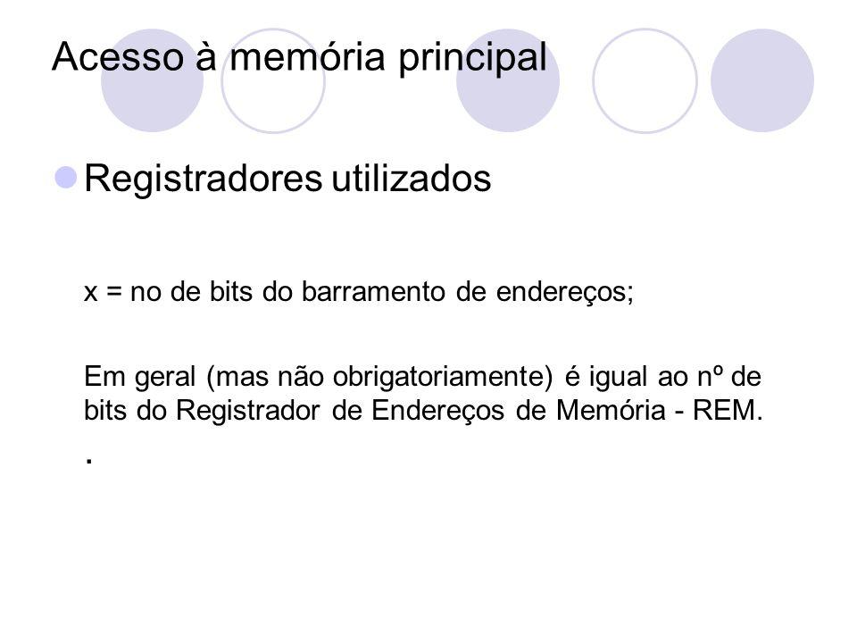 Acesso à memória principal Registradores utilizados x = no de bits do barramento de endereços; Em geral (mas não obrigatoriamente) é igual ao nº de bi