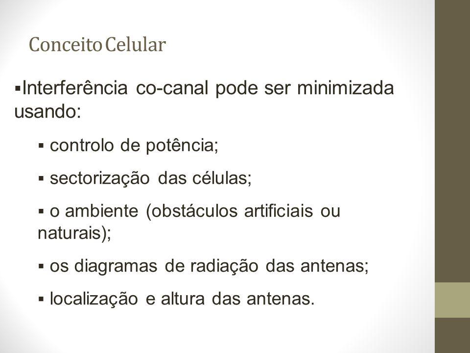 Conceito Celular Interferência co-canal pode ser minimizada usando: controlo de potência; sectorização das células; o ambiente (obstáculos artificiais