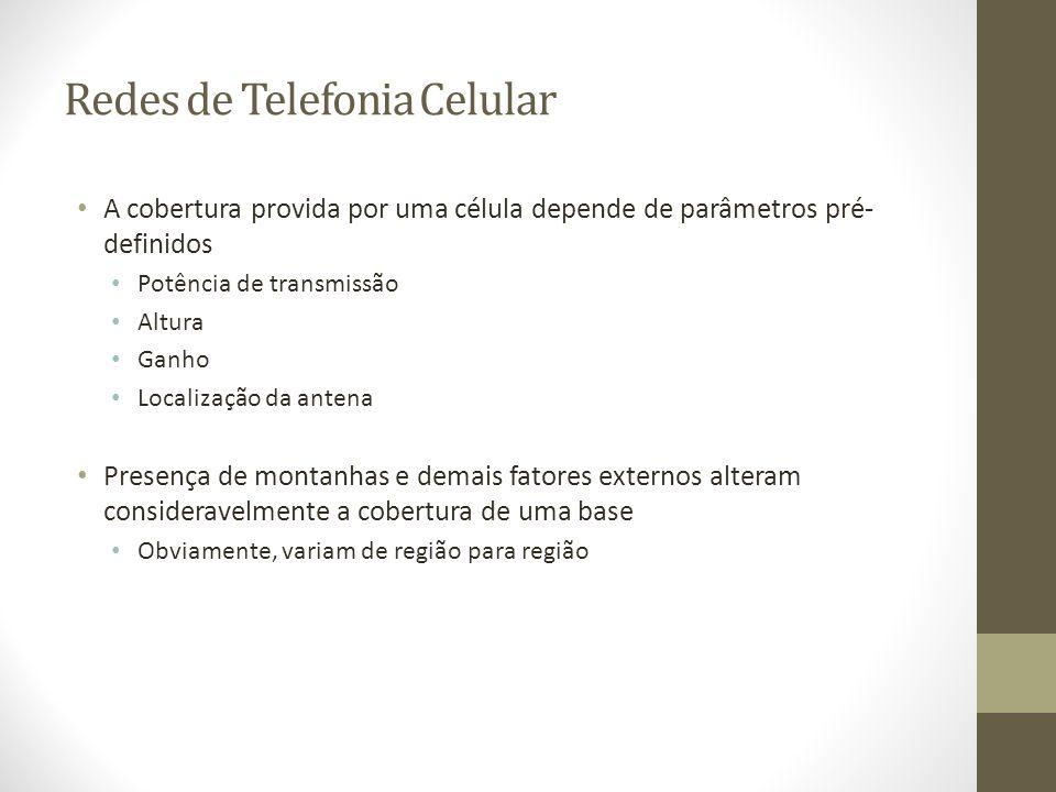 Redes de Telefonia Celular A cobertura provida por uma célula depende de parâmetros pré- definidos Potência de transmissão Altura Ganho Localização da
