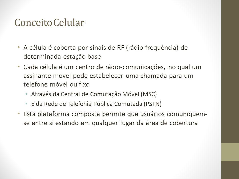 A célula é coberta por sinais de RF (rádio frequência) de determinada estação base Cada célula é um centro de rádio-comunicações, no qual um assinante