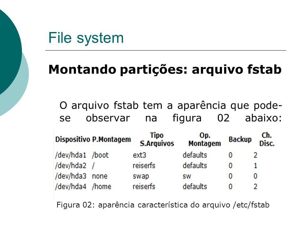 File system Montando partições: arquivo fstab O arquivo fstab tem a aparência que pode- se observar na figura 02 abaixo: Figura 02: aparência característica do arquivo /etc/fstab