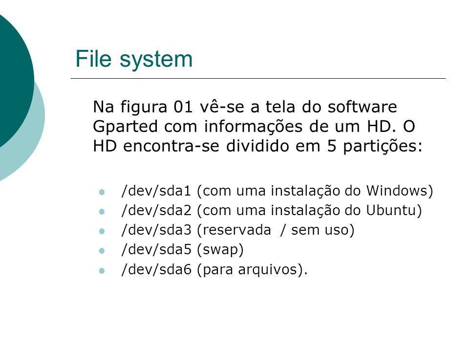 File system Na figura 01 vê-se a tela do software Gparted com informações de um HD. O HD encontra-se dividido em 5 partições: /dev/sda1 (com uma insta
