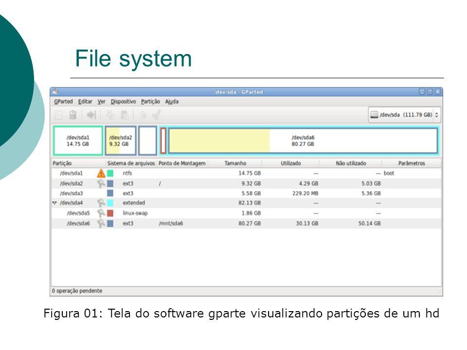 File system Na figura 01 a partição /dev/sda4 é a partição estendida, que é criada automaticamente pelo particionador quando você usa a opção de criar uma partição lógica, como uma espécie de container para as demais partições.