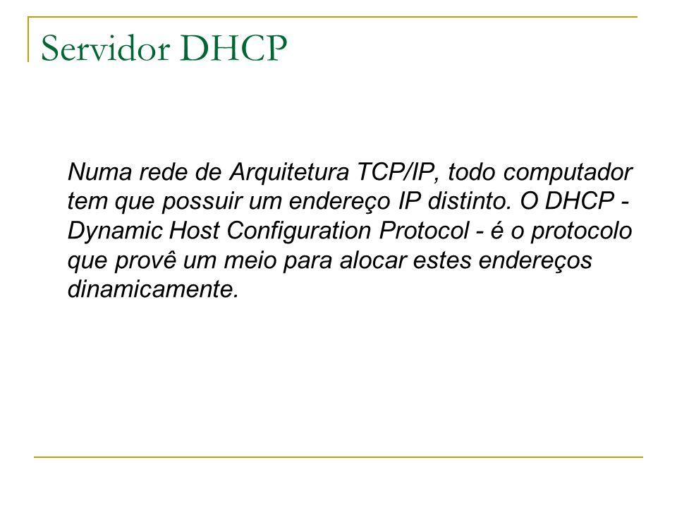 Servidor DHCP Numa rede de Arquitetura TCP/IP, todo computador tem que possuir um endereço IP distinto. O DHCP - Dynamic Host Configuration Protocol -