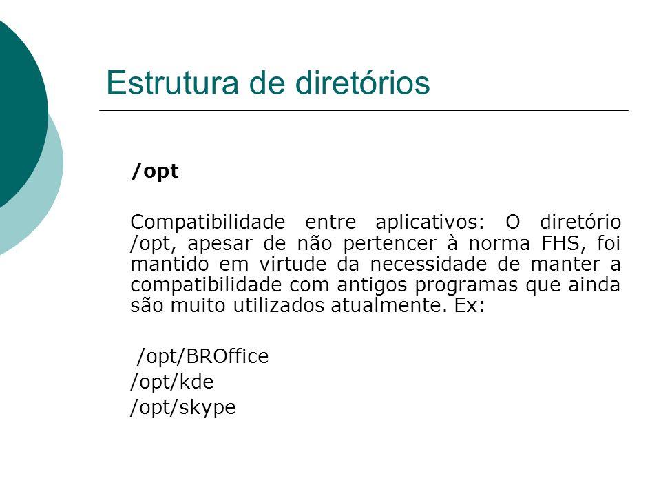 Estrutura de diretórios /opt Compatibilidade entre aplicativos: O diretório /opt, apesar de não pertencer à norma FHS, foi mantido em virtude da neces